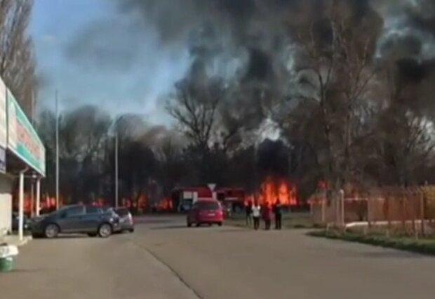 пожар в Киеве, скрин с видео