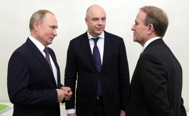 Владимир Путин, Антон Силуанов и Виктор Медведчук, источник - 112.ua