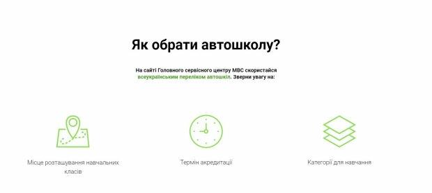 Вибір автошколи, скріншот: hsc.gov.ua