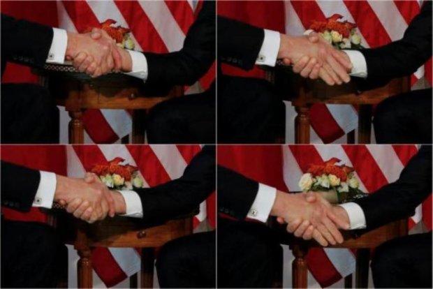 У Трампа после встречи с Макроном онемели пальцы: видео