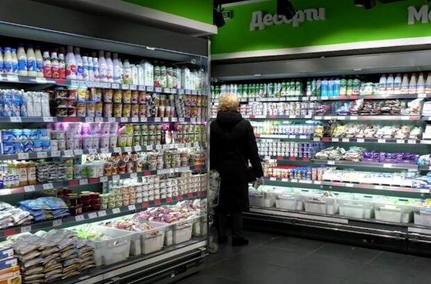 Продукти у супермаркеті, кадр з відео