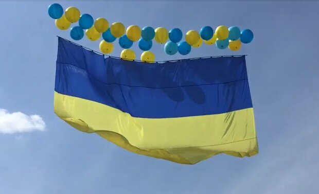 Український прапор над Донецьком, скріншот: Facebook