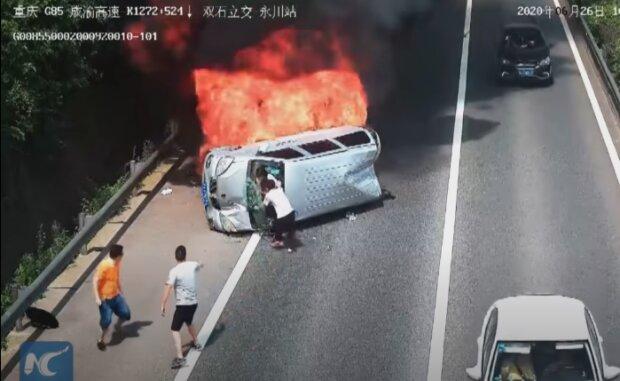 ДТП с фургоном, скриншот видео