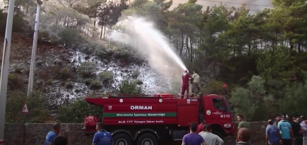 Лісові пожежі в Туреччині, скріншот: Youtube
