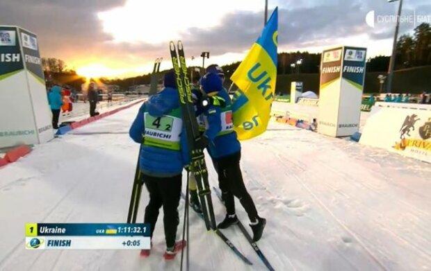 Україна взяла золото на чемпіонаті Європи з біатлону, скрін з відео