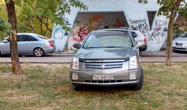 Козлик на травичці: нахабний водій залишив Cadillac на газоні