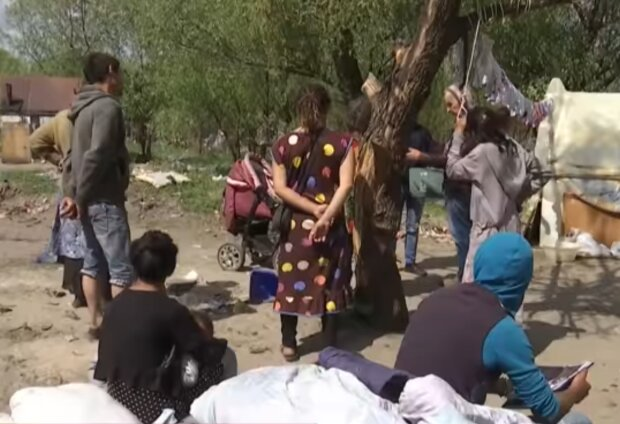 Ромский лагерь, кадр из видео