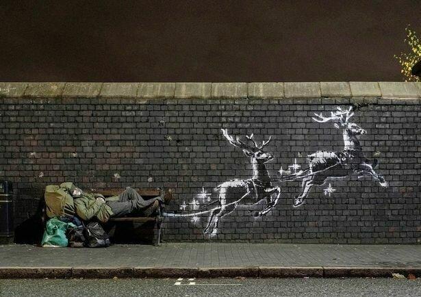 """Різдвяне графіті Бенксі врятувало безхатька від голоду: """"І він нічого не просив"""""""