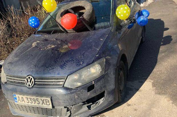 """героя парковки"" красиво проучили, фото: KyivOperativ"