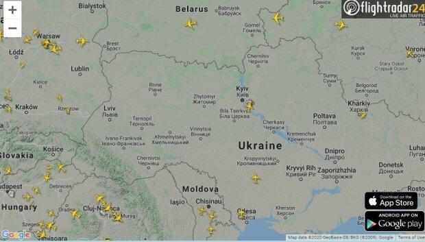 Ситуация в воздушном пространстве Украины, скриншот: flightradar