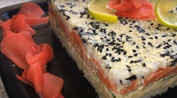 """Дивовижний салат-суші стане зіркою святкового столу: """"Не відрізнити від ролів"""""""