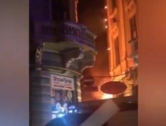В Черновцах горела пиццерия, скриншот с видео