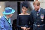 Елизавета II, принц Гарри и Меган Маркл, фото: Getty