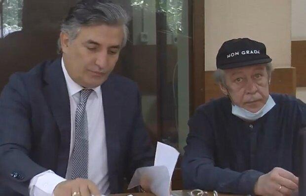 Ефремов с адвокатом, скриншот с видео