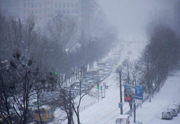 Снегопады парализовали Киев: полная карта пробок