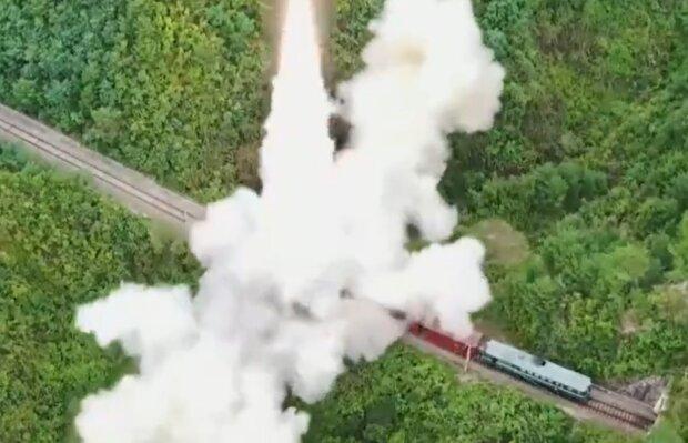 Запуск северокорейской ракеты, кадр из видео