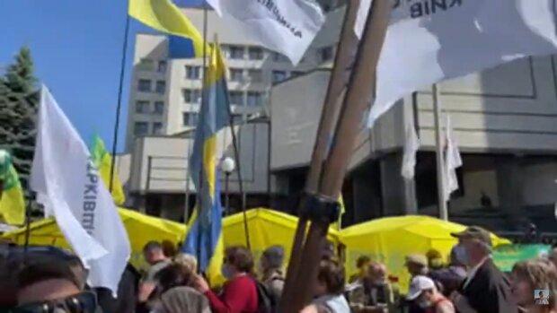Соратники партії «Держава» мітингують під Конституційним судом