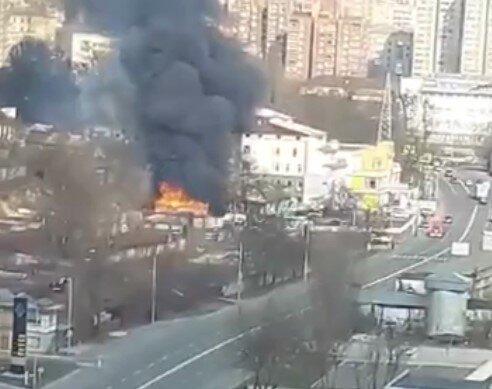 пожар, Киев, скриншот из видео
