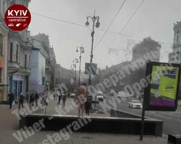 Голий киянин на Хрещатику, скріншот: Telegram