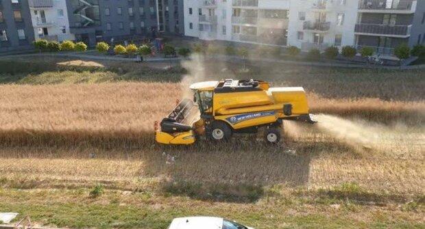 Один в полі воїн: фермер влетів на комбайні в житловий комплекс і зібрав урожай