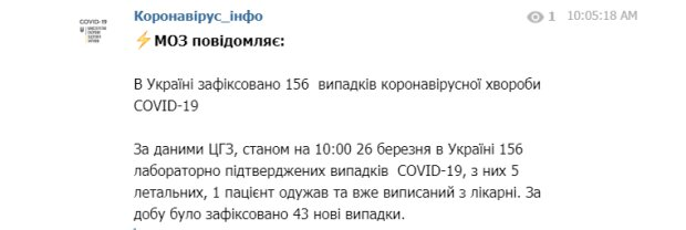 Распространения коронавируса в Украине, МОЗ