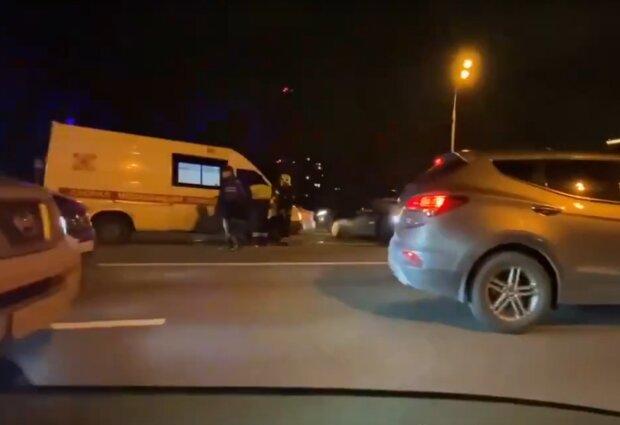 Тройное ДТП в Москве, скрин с видео