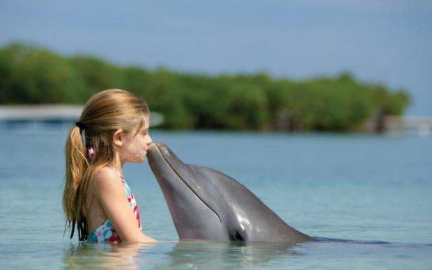 Маленькая девочка показала, как нужно приманивать дельфинов