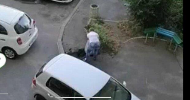 В Киеве наглая автомадам разгромила клумбу ради парковки