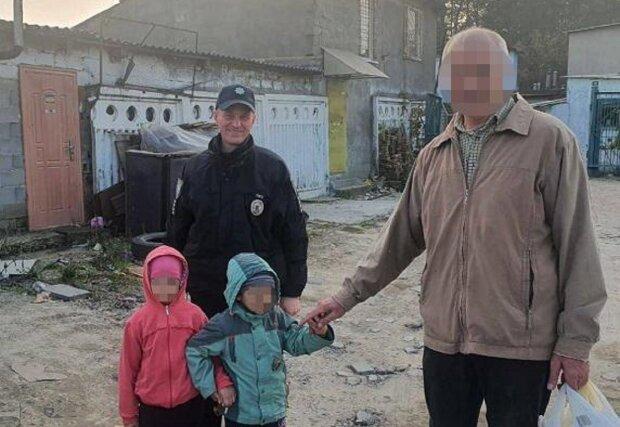 Пенсионеру вернули пропавших детей, фото: Facebook Полиция Киева
