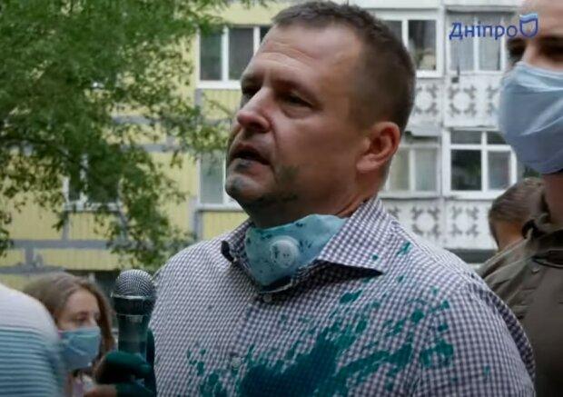 Филатова облили зеленкой, фото Днепр NEWS