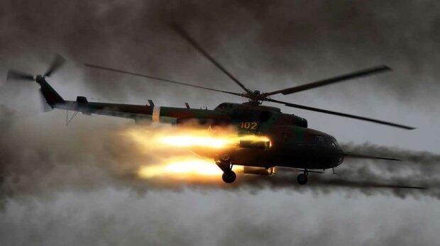 Над захопленою землею збито російський військовий гвинтокрил, відео