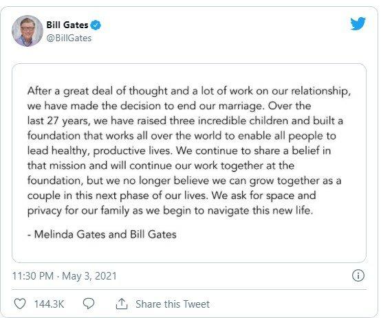 Пост в Twitter Білл Гейтс