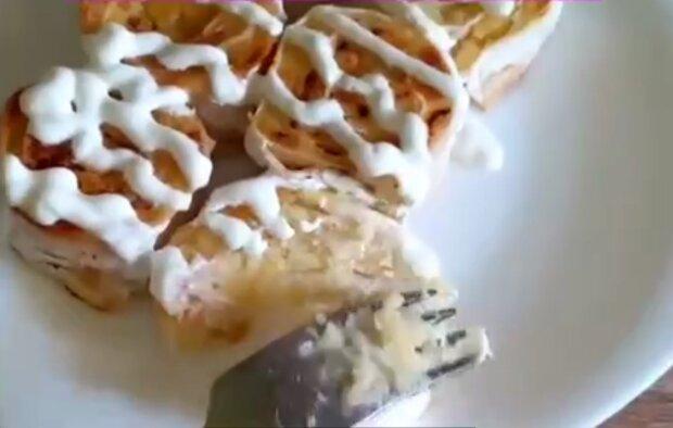 Картопляні крученики в лаваші, кадр з відео