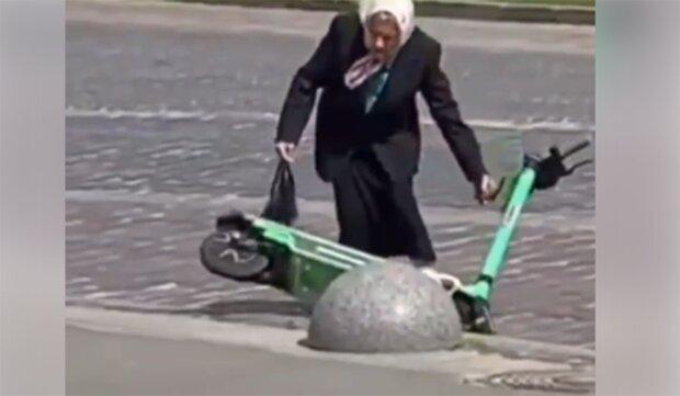 Пенсионерка во Львове, скриншот с видео
