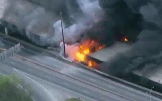 В Атланте обрушилась эстакада из-за пожара