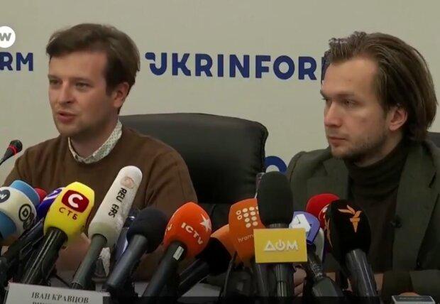 Іван Кравцов та Антон Родненков на прес-конференції, скрін