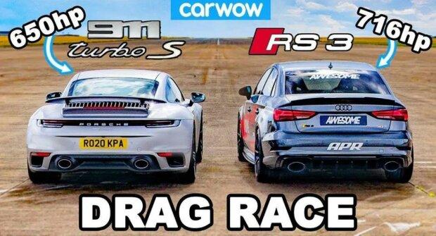 Audi RS3 против Porsche 911 Turbo S, скриншот