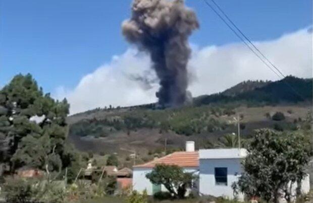 Извержение вулкана на Канарских островах, кадр из видео