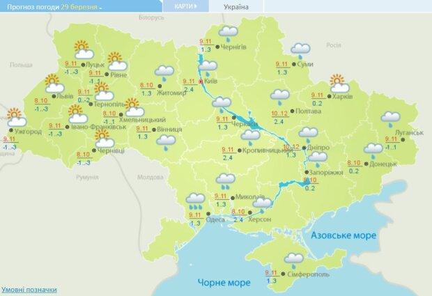 Погода на 29 березня, зображення Гідрометцентр