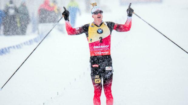 Норвежский биатлонист Бе с тремя промахами выиграл персьют в Оберхофе