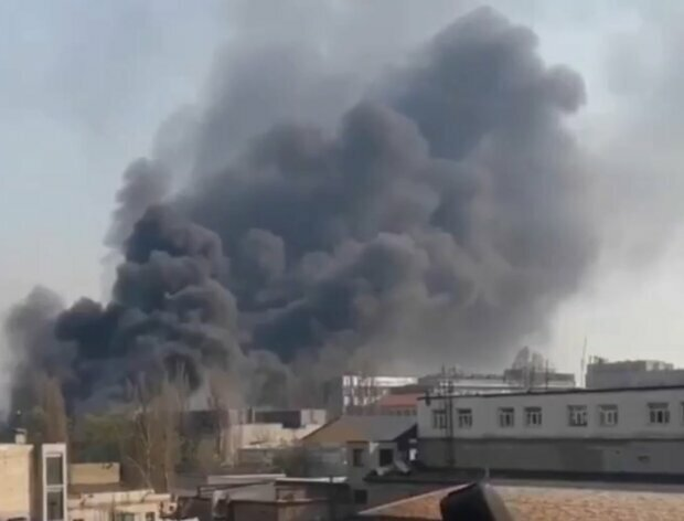 пожар на Бориспольской, скриншот с видео