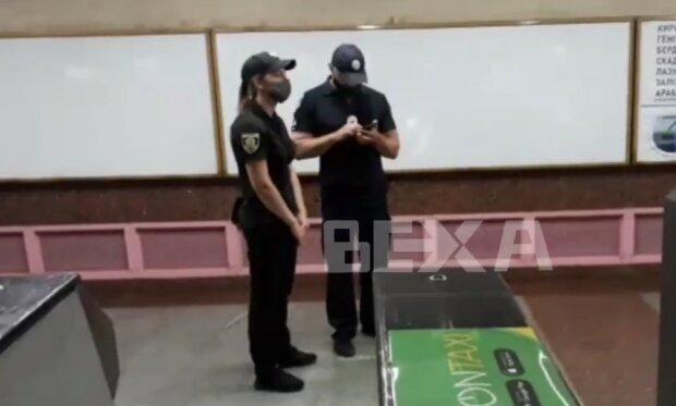 полиция в метро, скриншот из видео