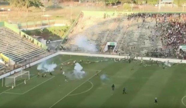 Видео грандиозной драки на матче чемпионата Бразилии