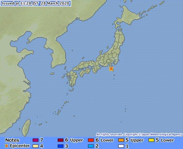 Землетрясение, фото Japan Meteorogical Agency