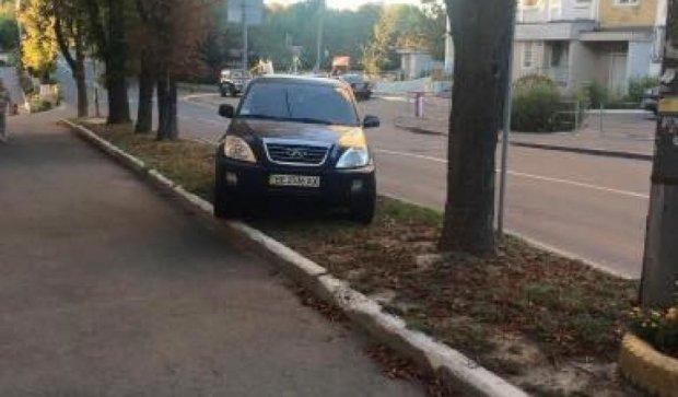 """Герой парковки выпас """"железного коня"""" на столичном газоне (фото)"""