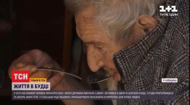На Киевщине пенсионерка выгнала на улицу собственного мужа: живет в будке вместе с собакой