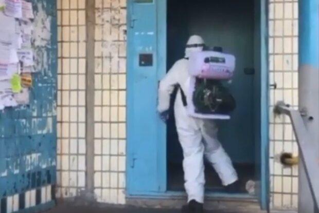 Дезінфекція під'їздів, скрін з відео