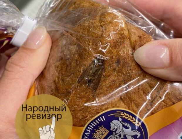 """Киевлянка наткнулась на бабочку в хлебе от популярного производителя: """"Сюрприз не удался"""""""