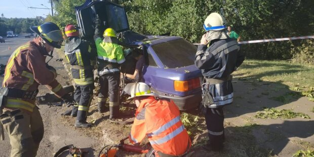 Под Днепром столб смял легковушку в консервную банку - водителя доставали по частям