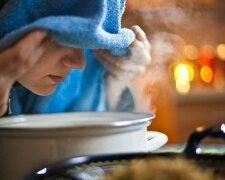 Жінка дихає над картоплею, Агроном Експерт
